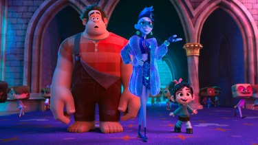Ralph (voiced by John C. Reilly), Yess (Taraji P. Henson) and Vanellope von Schweetz (Sarah Silverman) in a scene from Ralph Breaks the Internet.