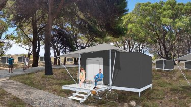 An artist's impression of what the 'glamping' accommodation would look like on Rotto.