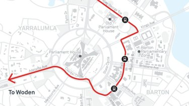 A close-up of the new route proposed for Barton.