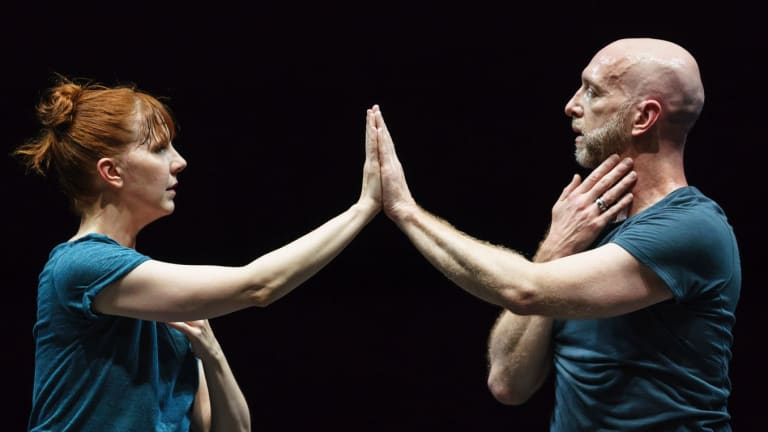 Jill Johnson and Christopher Roman work from the waist up, touching parts of their bodies that are usually forgotten in dance.