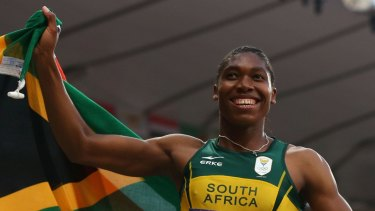 Caster Semenya celebrates her silver medal at the London Olympics