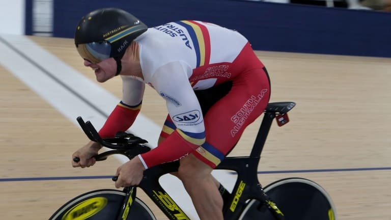 Blue ribband: South Australian cyclist Matthew Glaetzer was a commanding winner of the men's sprint over Jacob Schmid.