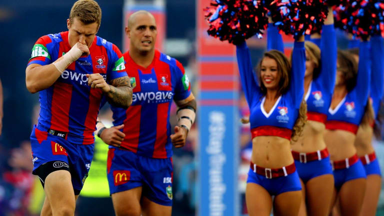 On the outer: Trent Hodkinson (left) is set to leave the Newcastle Knights.