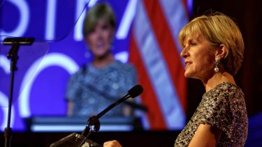 Foreign Minister Julie Bishop delivers a speech at the American Australian Association Australia Day gala in New York, last month.