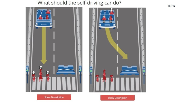 One of the scenarios you are asked to judge on MIT's Moral Machine exploring morality for autonomous cars.