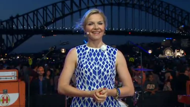 Justine Clarke hosting the family segment of ABC's New Year's Eve coverage.