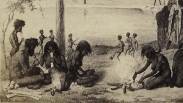 Aboriginal domestic scene from Blandowski's Australien in 142 Photographischen Abbildungen, 1857.