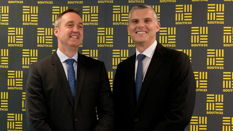 Happy days: South32 CEO Graham Kerr with CFO Brendan Harris.