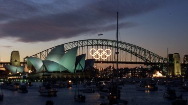 The Harbour Bridge sports the Olympic Rings during the 2000 Games in Sydney.
