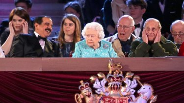 The King of Bahrain, Hamad bin Isa al-Khalifa, sits at the right hand of the Queen during the televised celebration of her  90th birthday at Windsor Castle.