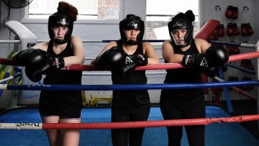 Training: (from left) filmmakers turned boxers Sophie Mathison, Grace Tan and Mohini Herse.