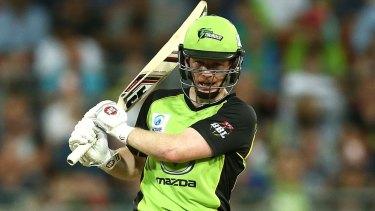 Sydney Thunder gun Eoin Morgan hit the winning six off the last ball of the innings against the Melbourne Stars on Wednesday night.