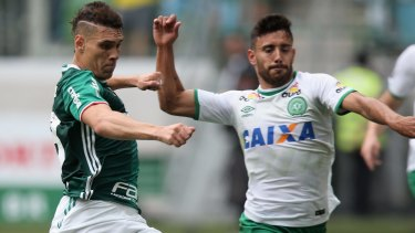 Chapecoense defender Alan Ruschel, left, survived the Colombia plane crash.