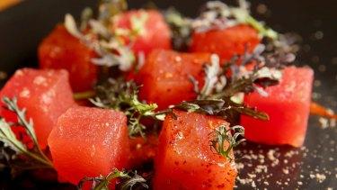 Tuna sashimi with watermelon.