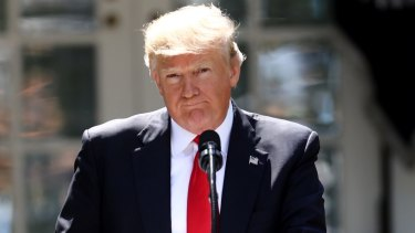 US President Donald Trump as he announced the US would withdraw from the Paris climate pact.
