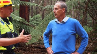 Bob Brown being arrested in Tasmania's Lapoinya forest in January.