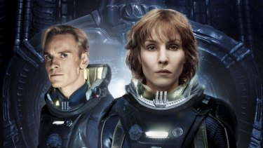 Michael Fassbender and Noomi Rapace in <i>Prometheus.</i>