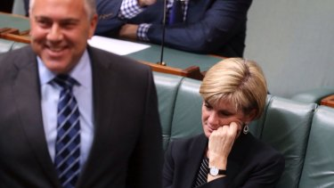 Tension rises on frontbench: Joe Hockey and Julie Bishop in Parliament on Monday.
