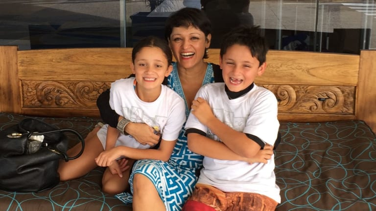 Sharon Verghis and her twins.