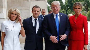 French President Emmanuel Macron with wife Brigitte with US President Donald Trump and first lady Melania Trump.