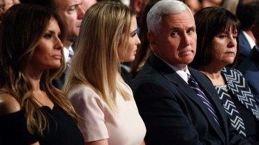 Melania Trump, Ivanka Trump,  Karen Pence and Michael Flynn at the first presidential debate in September.