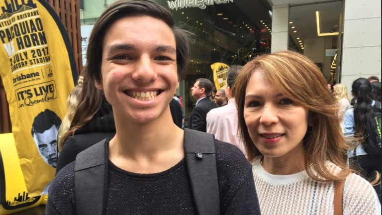 Filipino visitors to Brisbane for the bout, William Morris and his mother Naomi, arrived from Darwin specifically to see one of Manny Pacquaio's final matches.