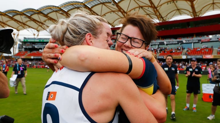 Adelaide Crows coach Bec Goddard makes history in winning the inaugural AFL Women's.