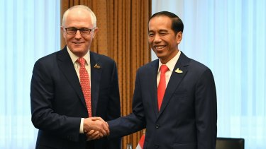 Australian Prime Minister Malcolm Turnbull  with Indonesian President Joko Widodo.  The two leaders have committed to reaching a free-trade deal by the end of the year.