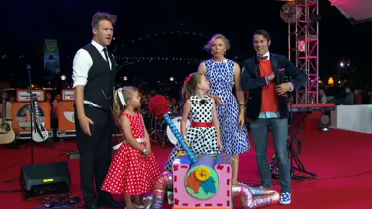 Eddie Perfect with Justine Clarke on stage.
