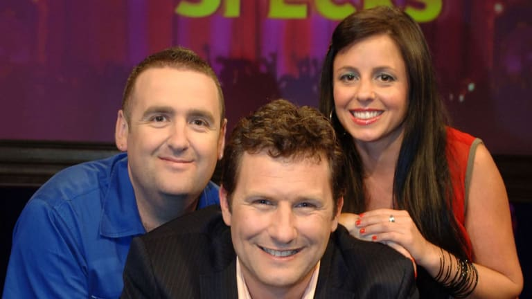 Alan Brough (left), Adam Hills and Myf Warhurst on <i>Spicks and Specks</I>, which Hill hosted for seven years.
