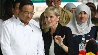 Foreign Minister Julie Bishop and Anies Baswedan in Jakarta in March 2016.