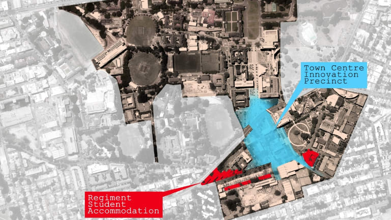 A diagram showing the proximity of the university (top) to the proposed development.