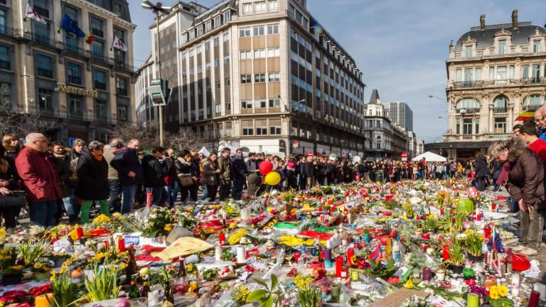 Floral tributes at the Place de la Bourse in Brussels.