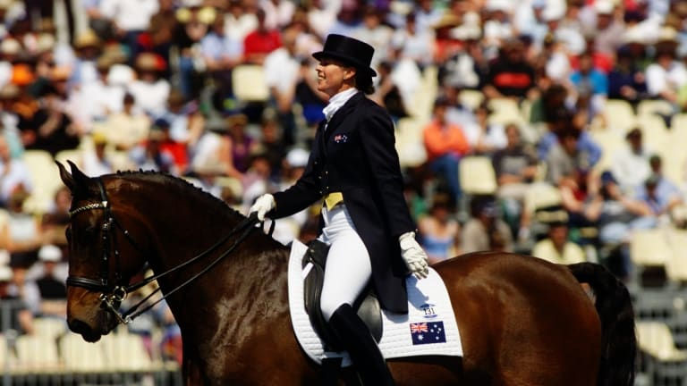 Veteran: Mary Hanna competes in the dressage at the Sydney Olympics in 2000.
