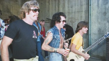 Bon Scott (centre) before AC/DC's appearance at Bill Graham's Day on the Green, Oakland, California, in July 1978. From Bon: The Last Highway.