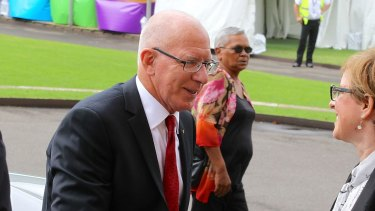 NSW Governor David Hurley arrives at the state funderal.