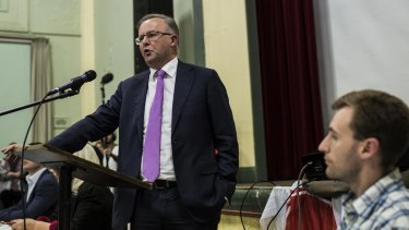 Mr Albanese  at a Stop WestConnex meeting at  Balmain Town Hall in May.