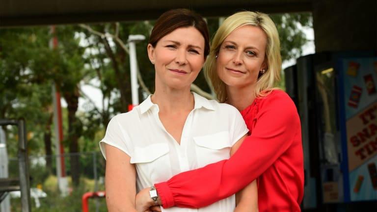 Anita Hegh (left) as Bianca Grieve and Marta Dusseldorp in 'Janet King', season three.