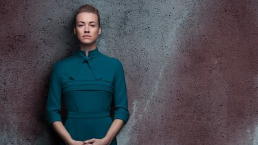 Yvonne Strahovski plays Serena Joy in The Handmaid's Tale.