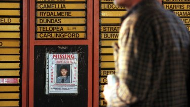 A poster of missing school girl Quanne Diec at a Sydney train station in 1998.