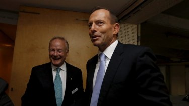 Former prime minister Tony Abbott with the chair of his commission of audit Tony Shepherd