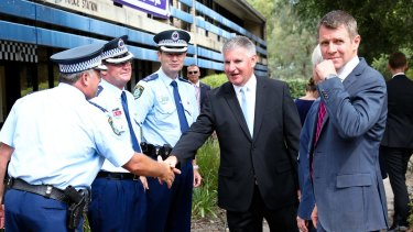"""Labor says data """"reheated"""": Mike Baird at Mt Druitt Police Station."""