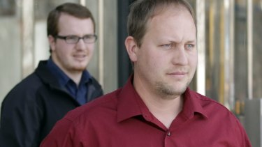 Thomas Jeffs, son of Lyle Jeffs, right, and Roy Jeffs, son of jailed polygamous leader Warren Jeffs, in Salt Lake City in February.