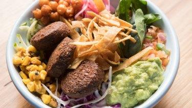 Fonda's Mex bim bap with falafel.