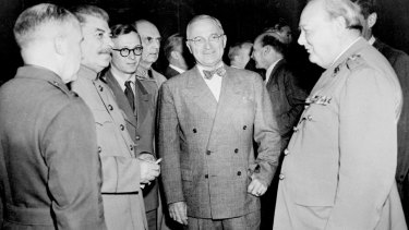 US President Harry Truman, centre, with Joseph Stalin, left, and Winston Churchill, right, in 1945.