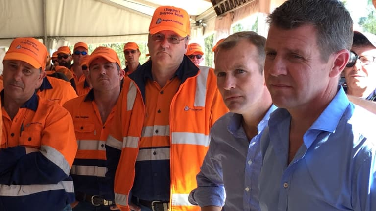 Premier Mike Baird and Planning Minister Rob Stokes hear from Drayton South miners during a visit in April 2015.