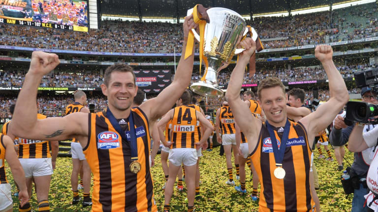 Luke Hodge and Sam Mitchell show of the premiership cup.