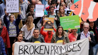 Campaigners in Melbourne show their opposition to the Adani mine. Photo: WAYNE TAYLOR