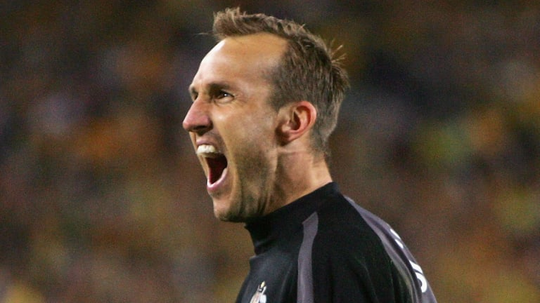 Golden years: Mark Schwarzer in 2005 during the penalty shootout with Uruguay.