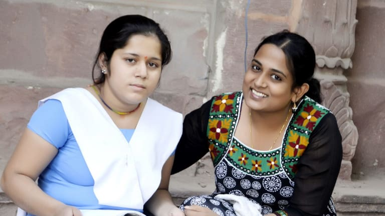 Bhanu Singh, 17, with Kriti Bharti.